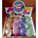 1 VE 48 X Glitzer Squishy Netz Ball 6 cm Quetschball